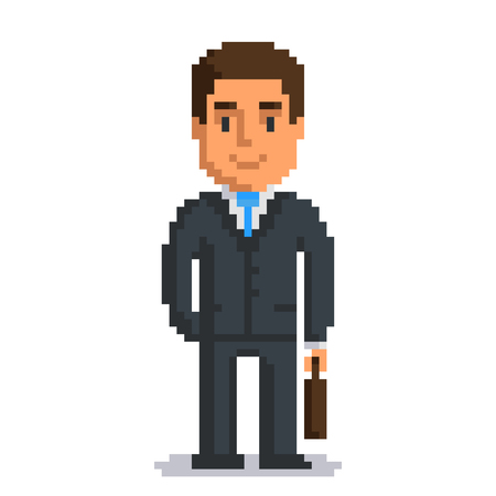 Businessman isolated on white background. Office man with suitcase pixel game style illustration. Worker vector pixel art design. funny 8 bit people character icon.  Imagens