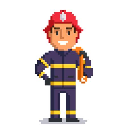 Firefighter isolated on white background. fireman pixel game style illustration. vector pixel art design. funny 8 bit people character icon. Imagens - 72473446