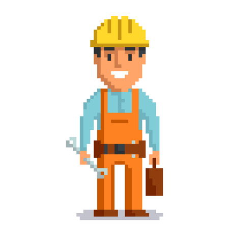 Builder isolated on white background. Repair man with tools pixel game style illustration. Repairman vector pixel art design. funny 8 bit people character icon.  Imagens