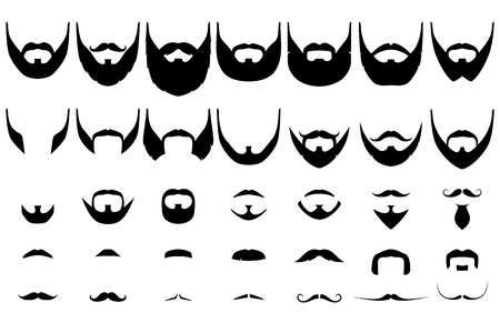 Set of isolated vector facial hair styles on white background. Beards and mustaches types big collection. Silhouette vintage beard and mustache. Hipster style emblems, icons, labels. Imagens - 74709344