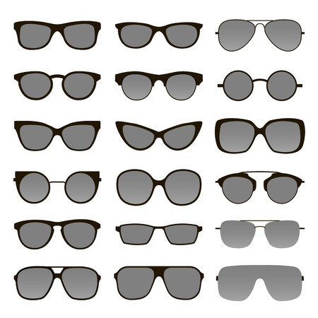 Set of various custom glasses isolated. vector sunglasses on white background. Glasses model icons. Fashion accessories collection.