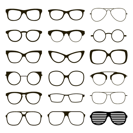 Set of various custom glasses isolated. vector spectacles silhouette on white background. Glasses model icons. Fashion accessories collection. Imagens - 75934637