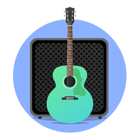 Blue electro acoustic guitar with amp illustration.