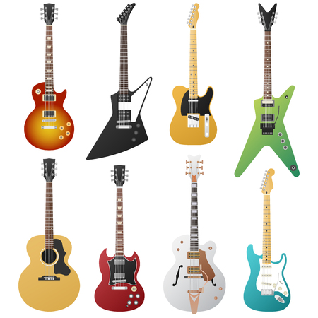 Electric guitars collection, vector musical instruments isolated.