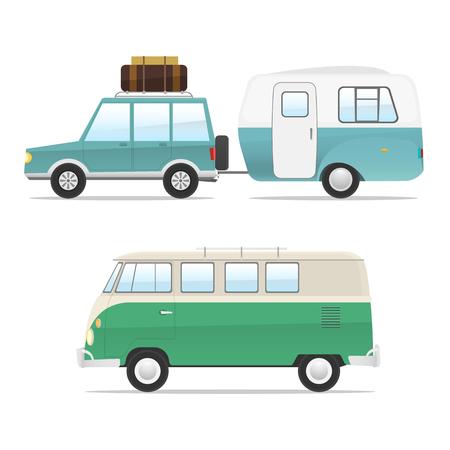 Set of champers. retro champer bus, car. rv transport isolated. summer vacation. cartoon, modern flat design. vector illustration. 版權商用圖片