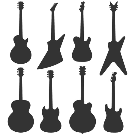 Electric guitars silhouette collection, vector musical instruments isolated.