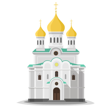 Orthodox church isolated. City architecture object. Vector modern flat design with shadows. Object Illustration icon.