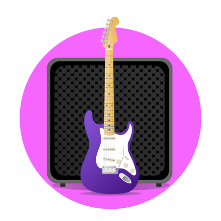 Pink electric guitar with amp illustration. round icon. vector modern flat design. rock musical instruments.