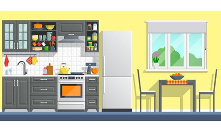 Küche Interieur Mit Tisch, Herd, Schrank, Geschirr Und Kühlschrank. Wohnung  Nach Hause
