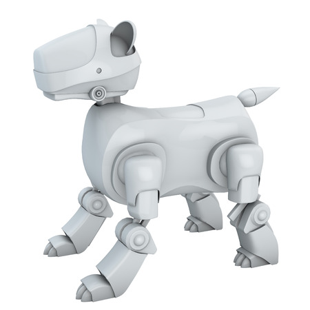 crouch: Stock Photo - Robot Dog isolated white