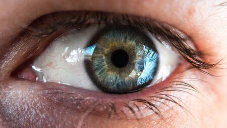 human eye: Closeup shot of blue and green human eye