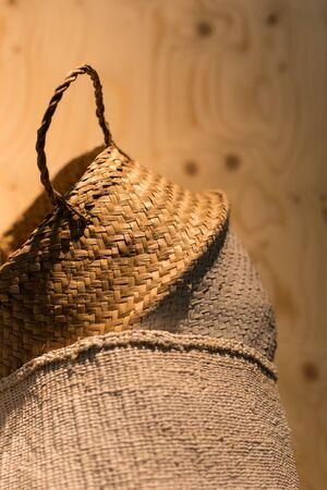 Close shot up of handcrafted raffia naskets