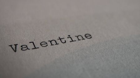 old typewriter: Valentine written on paper with old typewriter Stock Photo