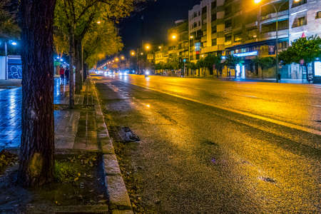 Streets of Seville at night on Christmas time. Imagens