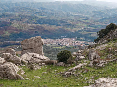 Aerial view from the top of the city of Antequera in Spain 版權商用圖片