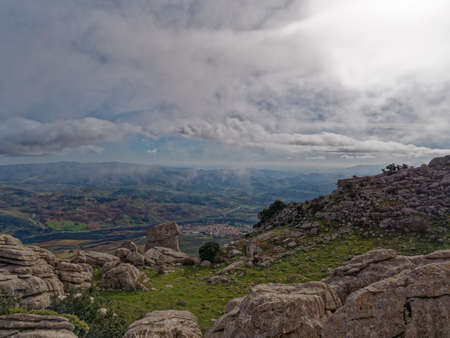 Aerial view from the top of the city of Antequera in Spain.