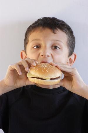 ni�o comiendo una hamburguesa Foto de archivo - 15317037