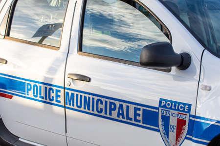 side of a municipal police car Banco de Imagens