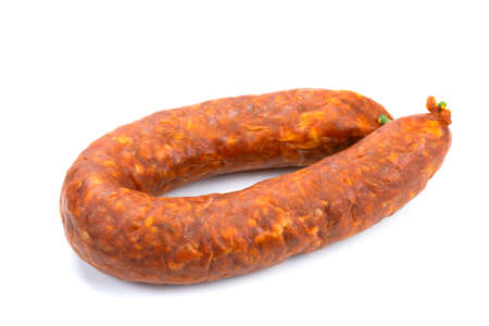 whole chorizo isolated on a white background Banque d'images