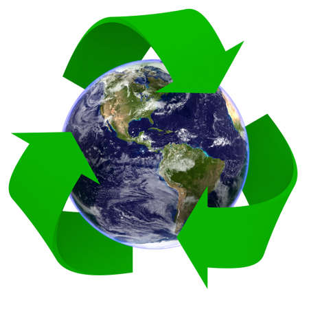 Realistic Planet Earth Recycling Symbol