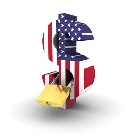 padlocked: Financial Security Concept - Padlocked US Flag Dollar