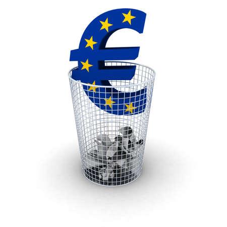 euro symbol: EU Flag Euro Symbol in Bin