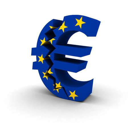 euro symbol: Financial Insecurity Concept - EU Flag Euro Symbol