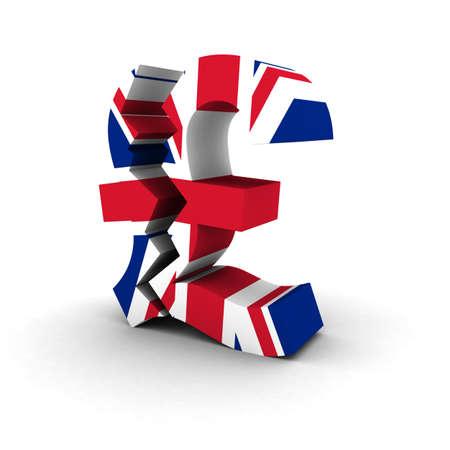 bandera de reino unido: Financiero Concepto Inseguridad - Cracked UK Bandera S�mbolo de la libra
