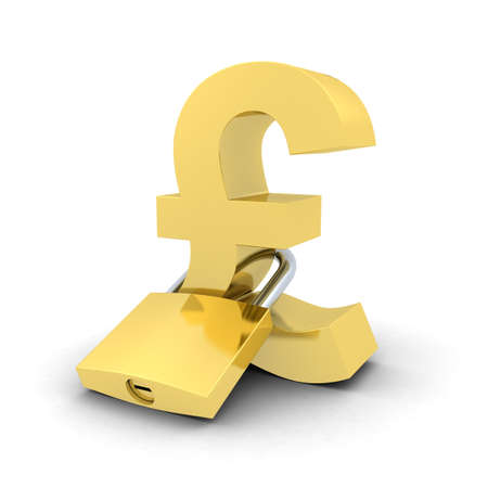 padlocked: Financial Security Concept - Padlocked Gold Pound Symbol Stock Photo