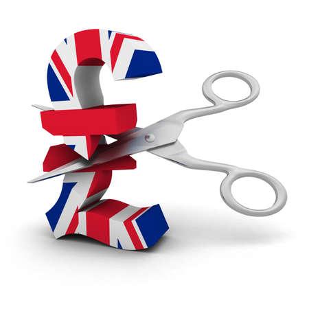 bandera de reino unido: Recortes de precios Concepto - UK Flag Pound Symbol