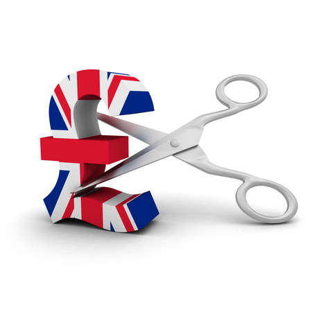 price cut: Price Cut Concept - UK Flag Pound Symbol Stock Photo