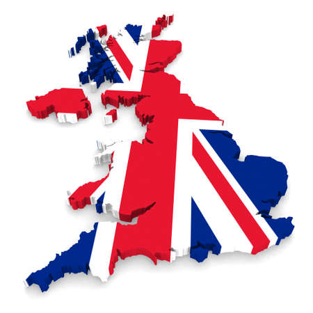 UK Flag United Kingdom 3D Map Outline