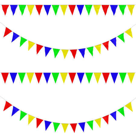orthographic: Four Colour Bunting Collection: 3D reflection and flat orthographic Stock Photo