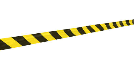 Yellow and Black Striped Hazard Tape Line at Angle Stock Photo