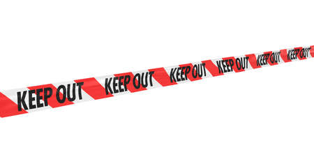 keep out: Red and White Striped KEEP OUT Tape Line at Angle Stock Photo