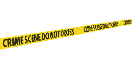 Crime Scene Do Not Cross Tape Line at Angle 写真素材