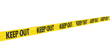 keep out: Yellow and Black KEEP OUT Tape Line at Angle