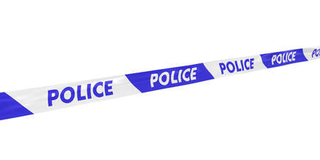 police tape: Blue and White Striped POLICE Tape Line at Angle Stock Photo