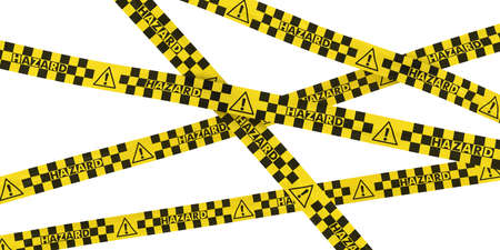 Checkered Exclamation Mark Hazard Sign Tape Background photo