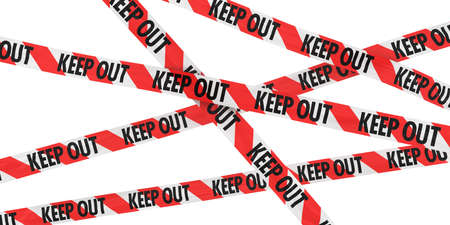 Red and White Striped KEEP OUT Tape Background Stock Photo