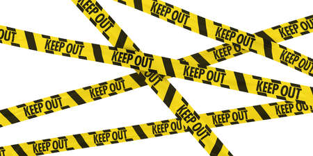 keep out: Yellow and Black Striped KEEP OUT Tape Background Stock Photo