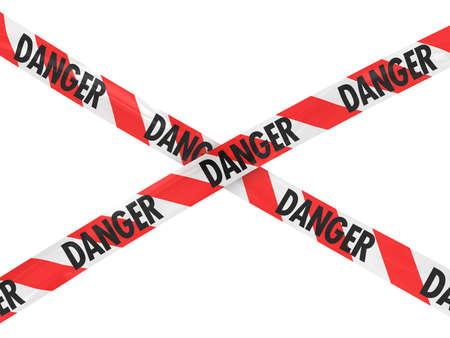 hazard tape: Red and White DANGER Tape Cross