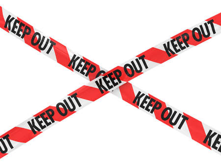 keep out: Red and White KEEP OUT Tape Cross Stock Photo