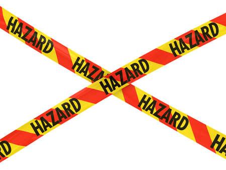 hazard tape: Red and Yellow HAZARD Tape Cross Stock Photo
