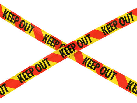 keep out: Red and Yellow KEEP OUT Tape Cross