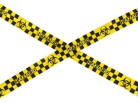 hazard tape: Biohazard Checkered Hazard Tape Cross Stock Photo