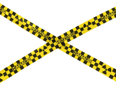 hazard tape: Radiation Hazard Checkered Tape Cross