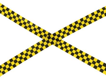hazard tape: Yellow and Black Checkered Hazard Tape Cross