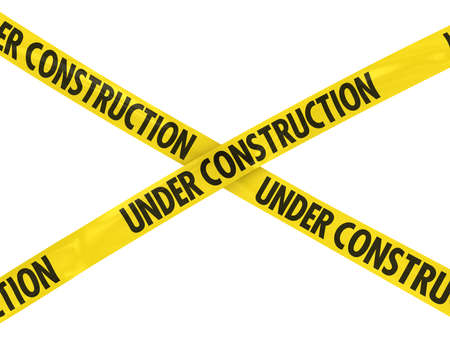 under construction: UNDER CONSTRUCTION Tape Cross Stock Photo