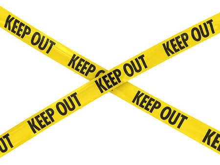 keep out: Yellow and Black KEEP OUT Tape Cross Stock Photo